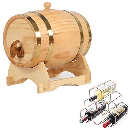 Oak Aging Barrel Whiskey Barrel, 20L Vintage Eiken Whiskey Bucket Water Dispenser met Flessenrek voor het opslaan van bier, likeur, honing, hete saus Huishoudelijke Wijnvat