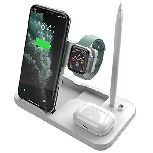 ZHICHUAN 4 in 1 Retractable and Foldable 15W Multifunctional Wireless Charger Suitable for iPhone 12 Mini Pro Max 11 Pro Max and for Se 6 5 4 3 Airpods Pro Green Lightweight and po