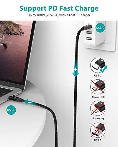 Nimaso USB Typ C zu USB C Kabel 3.1 Gen 2 2M,100W USB C Kabel PD Schnellladekabel E-Mark Chip SuperSpeed 10 Gbit/s für MacBook Pro,iPad Pro 2020/2018,Galaxy S21/S21+/S21 Ultra/S20/10,MacBook air 2020