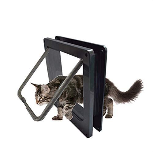 Intelligente magnetische kattenklep met 4-weg vergrendeling Eenvoudige installatie zwarte deur kit 25x23.5x5.5cm huisdier hond klep deur voor houten deuren, venster ramen, schuifdeuren glas