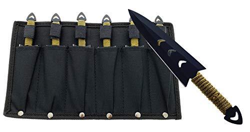 Falcon Throwing Knife Set 6' with Sheath (6 Pcs) (Black)
