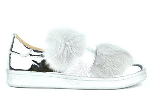 Chase & Chloe Celine-4 Furry Women Fashion Sneakers (6, Silver)