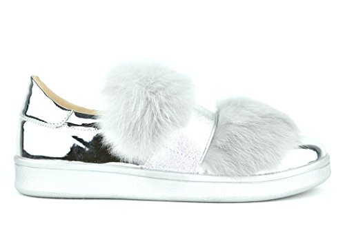 Chase & Chloe Celine-4 Furry Women Fashion Sneakers (8.5, Silver)