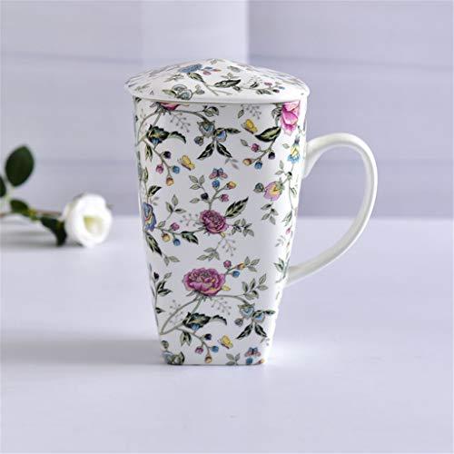 Tasses de Tasse à thé en Porcelaine café Elegant_RG, Flower PlantCeramic Gobelets à Grande capacité avec os de café recouvert de Porcelaine La Tasse carrée Faite Main est Mugs