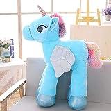 Lindo Unicornio de Peluche de Juguete para niños Gran Animal de Peluche Caballo de Juguete muñeca Suave decoración del hogar Amante Regalo de cumpleaños 90 cm Azul