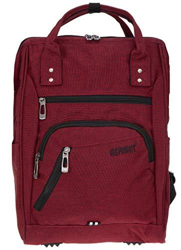 Elephant Rucksack Finn Color Tasche A4 Daypack Bürorucksack Damen Herren Freizeitrucksack 3437 + Schlüsseletui (Dark Red)