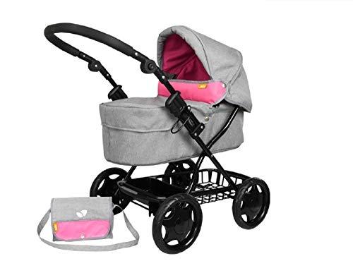 Joie Dolls Junior Pram/Stroller with Matching Shoulder Bag + Handy Shopping Basket 3 Years +, Adjustable Handle Height, Lightweight, Adjustable Hood and Removable Apron