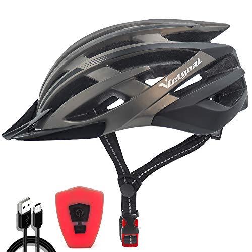 VICTGOAL Fahrradhelm mit Sicherheit LED Rear Light Mountain Bike Helm für Herren Damen Fahrradhelm mit Abnehmbares Visier Road Cycling Helm (Ti Schwarz)