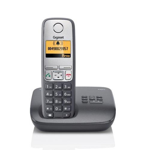 Gigaset A400A Dect-Schnurlostelefon mit Anrufbeantworter, dunkelgrau