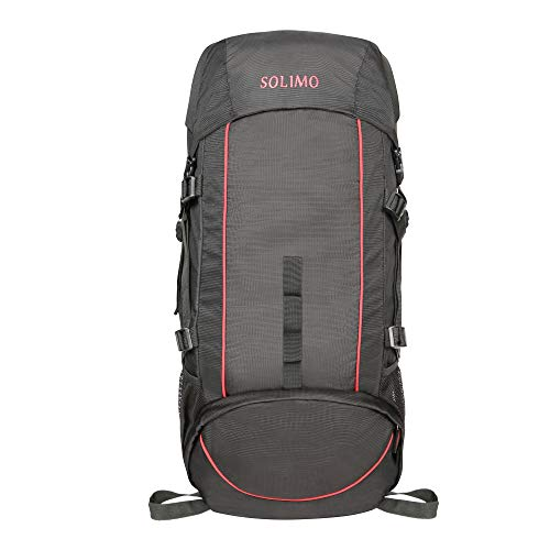 Amazon Brand - Solimo Voyager Rucksack (43 litres, Coal Black & Red)
