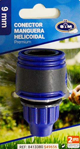 S&M Conector automático Manguera helicoidal 9 mm Premium, Negro y Azul Cobalto