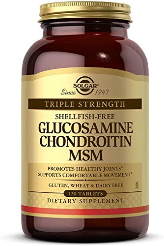 Solgar Triple Strength Glucosamine Chondroitin MSM, 120 Tablets - Promotes Healthy Joints, Supports Comfortable Movement - Shellfish Free - Gluten Free, Dairy Free - 60 Servings