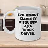 Divertida taza de café para conductor de camión Regalos personalizados personalizados para operadores de camiones Conductores de camiones ferroviarios Genio malvado inteligentemente disfrazado
