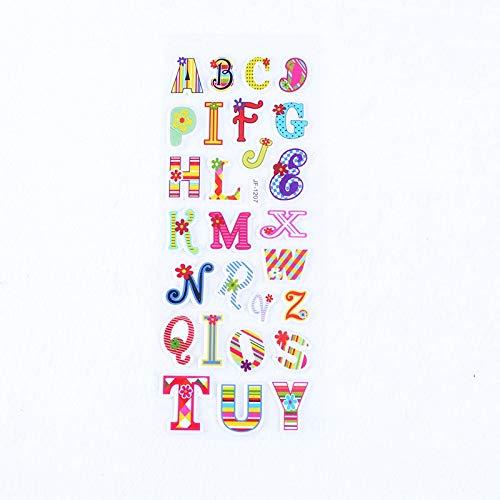 10PCS Cute 3D Cartoon Transparent Child Stickers Alphanumeric Bubble Stickers