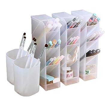 5 Pcs Desk Organizer- Pen Organizer Storage for Office School Home Supplies Translucent White Pen Storage Holder Set of 3 2 Cups 14 Compartments  White