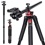 Neewer 72.4 inches Aluminum Camera Tripod Monopod with 360 Degree Rotatable Center Column and Ball Head, Quick Shoe Plate, Bag for DSLR Camera Video Camcorder Travel and Work, Load up to 33 pounds