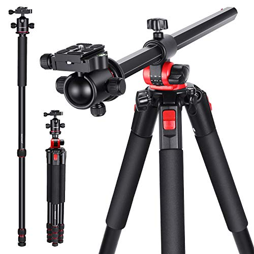 Neewer 72.4-Inch Aluminum Camera Tripod Monopod with 360-Degree Rotatable Center...