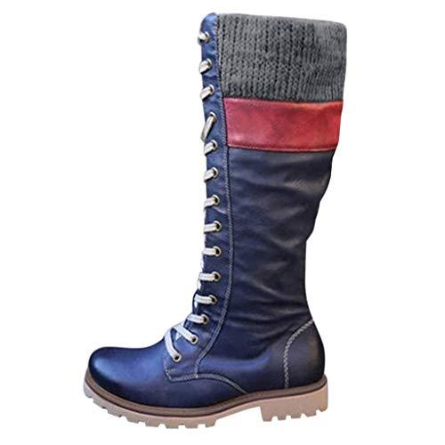 HDUFGJ Stiefel Damen Retro Ritterstiefel Outdoor-Schuhe hohe Stiefel Ritterstiefel Chelsea Boots Stiefeletten Gummistiefel Wanderhalbschuhe Trekkingschuhe Mittlere Stiefel kurz Boots 38 EU(Blau)