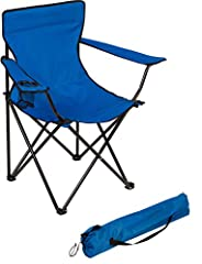 """Made from sturdy steel tubing and 600D polyester fabric with PVC Coating to withstand the elements Measures 19.5""""L x 31""""w x 34.5""""H with a weight capacity of 220lbs Comes with cupholder Folds for easy storage By Trademark Innovations"""