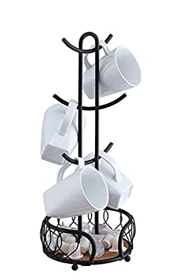 SunnyPoint Heavy Wire Gauge 6 Mug Tree Countertop Holder, Coffee Mugs and Tea Cup Storage Rack with Small Storage Area (Mat Black, 18.2 x 7 x 7 Inch)