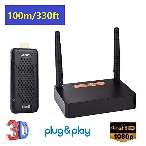 measy FHD656 mini Draadloze HDMI-extender met Loop-out IR Pass-back-ondersteuning 1080P @ 60Hz Full HD Kan tot 100 m (zichtlijn) zenden, Wifi HD AV-zender en ontvanger voor projector Kerkmonitor Thuisgebruik
