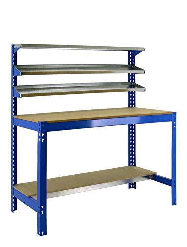 Banco de trabajo BT1 Simonwork Azul/Madera Simonrack 1445x910x610 mms - Banco de trabajo resistente - mesa de trabajo industrial 400 Kgs de capacidad por estante