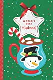 World's Best Husband: Teal Snowman Hot Cocoa Mug on Red Green Cover / Small 6x9 To Do List Notebook and Christmas Card for Husband Combo / Fun Gift or Stocking Stuffer for Husband