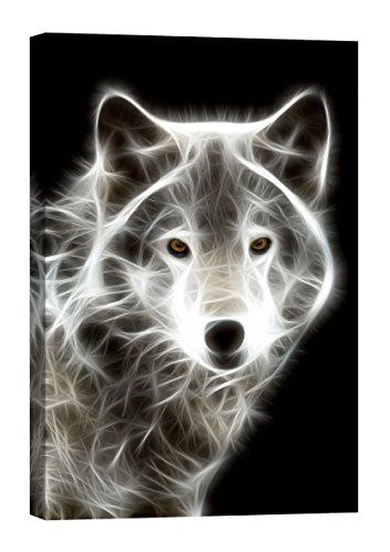 Startoshop Wallart PICMA nachleuchtende Leinwandbild fertig auf Holzrahme gestreckt, schwarz weißer Wolf Abstrakt Wandbild.