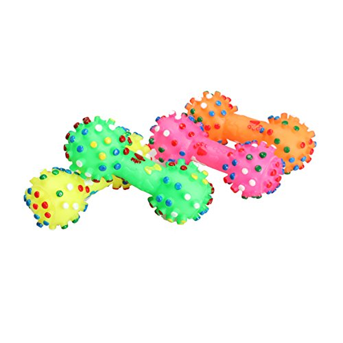 domybest Colorful Dotted Hantel Form Squeeze quietschend Faux Knochen Hunde Spielzeug zufällige Farbe