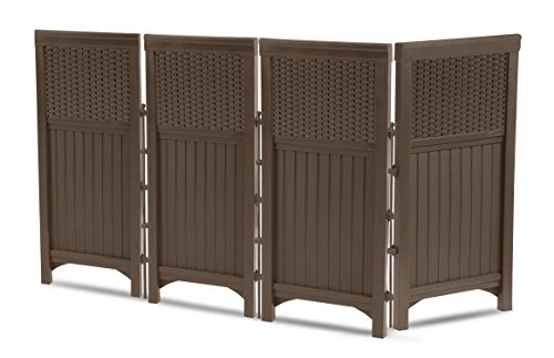 Suncast 4 Panel Outdoor Screen Enclosure - Freestanding Wicker Resin Reversible Panel Outdoor Screen - Perfect for Concealing Garbage Cans, Air Conditioners - Brown, 23