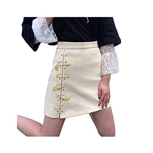 XHKJS Kleiner Lederrock, hohe Taille, dünnes Temperament, Kleiner Lederrock, weiblicher Pin, Büste, Hüftrock für Abendpartys, Nachtclubs (Color : Apricot, Size : M)