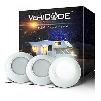 VehiCode 12V/24V LED Puck Light Fixture Kit (Daylight White) - 3 Inch Round Surface Mount for Car RV Camper Trailer Van Boat Marine Interior Cabin Dome Courtesy Under-Cabinet Lighting (3 Pack)