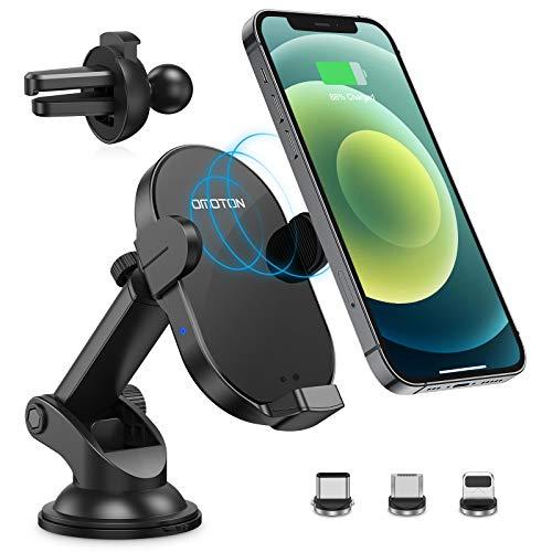 OMOTON Caricatore Wireless Auto Supporto Telefono a Ricarica Wireless 15W, Caricabatterie Universale per iPhone/Samsung/Huawei/Xiaomi Qi e non-Qi ecc, Ricarica Magnetica con 3 Adattatori Magnetici