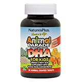 NaturesPlus Animal Parade Source of Life DHA Children's Chewables - Natural Cherry Flavor - 90 Chewable Animal Shaped Tablets - Omega 3 Fatty Acid Supplement - Gluten-Free - 30 Servings