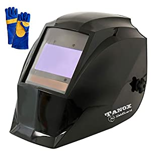 "Digital Display auto Darkening Solar Powered Welding Helmet ADF-210S, Solar Shade Lens, Tig Mig MMA, Adjustable Range 4/9-1316 Bonus 16"" Fire Retardant Welding Gloves, Carrying Bag and spare lens by ADF-210S"