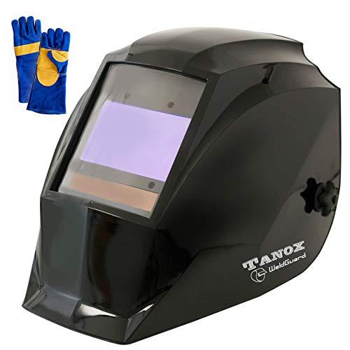 "Digital Control Auto Darkening Solar Powered Welding Helmet ADF-210S, True Color Tech, Solar Shade Lens, Tig Mig MMA, Adjustable Range 4/9-13 Bonus 16"" Fire Retardant Welding Gloves."