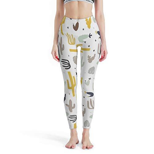 RQPPY Joggen Yoga Pants Damen Cactus Training Tights für Laufen White s