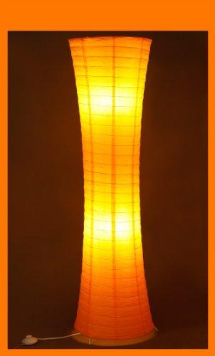 Trango TG1230 Modern Design Papier Stehlampe *AMSTERDAM* Reispapier Stehleuchte in Rund Orange Stehleuchte 125cm Hoch mit 2x E14 Lampenfassung als Wohnzimmer Deco Lampe, Standleuchte, Lampenschirm