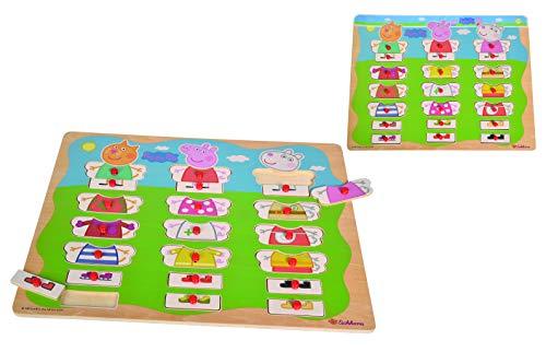 Eichhorn 109265706 - Peppa Pig - Mix und Match Puzzle mit 21 Steckteilen, 22-tlg., 40x30cm, FSC 100% Zertifiziertes Lindensperrholz