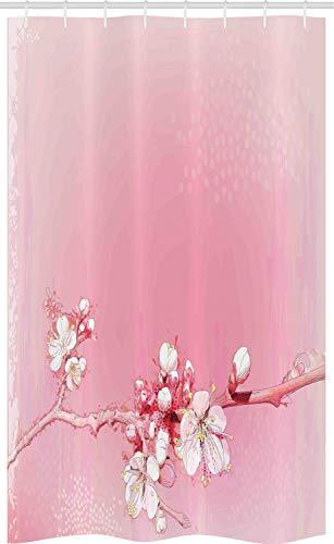 ABAKUHAUS Pfirsich Schmaler Duschvorhang, Japanische Kirschblüte, Badezimmer Deko Set aus Stoff mit Haken, 120 x 180 cm, Weiß Rosa