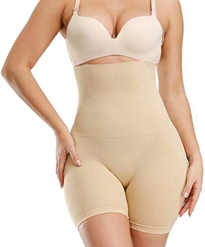 ANGOOL Femme Invisible Body Gainant Panties Culotte Taille Haute Gainante Minceur Body Shaper Ventre Plat Combinaisons Sculptantes, Beige, S