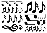 dekodino Pegatina de pared notas negras 35 piezas set decoración