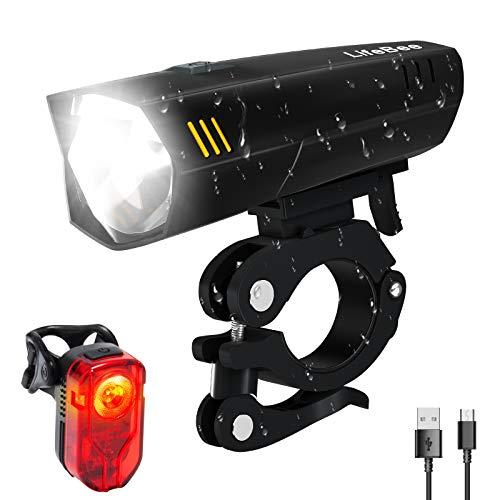 LIFEBEE LED Fahrradlicht Set, USB Wiederaufladbare fahrradlichter Fahrradbeleuchtung Set, IPX5 Wasserdicht...