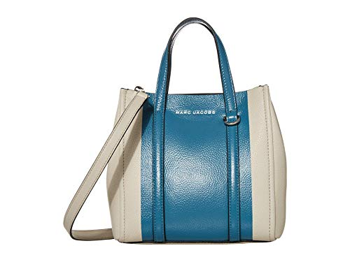 "Ivory Blue Multi leather Magnetic closure at top. Embossed logo Top handles w/ hanging logo tag. Zip interior pocket. Removable, adjustable shoulder strap, 22"" drop 8""W x 9""H x 3.5""D."
