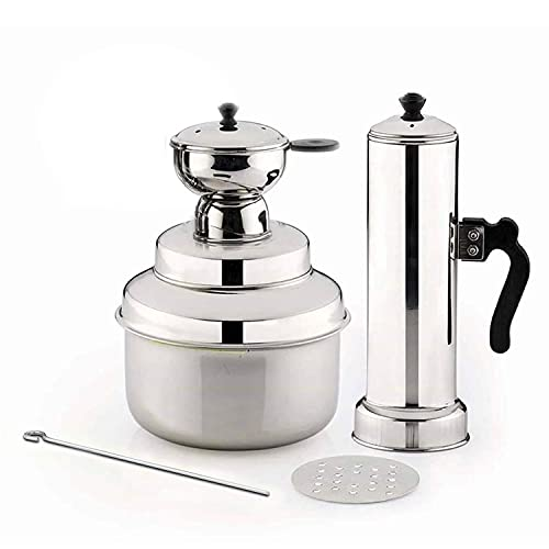 Panca Premium Puttu Cooker with Stainless Steel Puttu Maker Round Puttu Kudam Chirattaa Puttu Maker with Steamer Plate, Puttu Vessel, Puttu Maker Pressure Cooker, Made in India