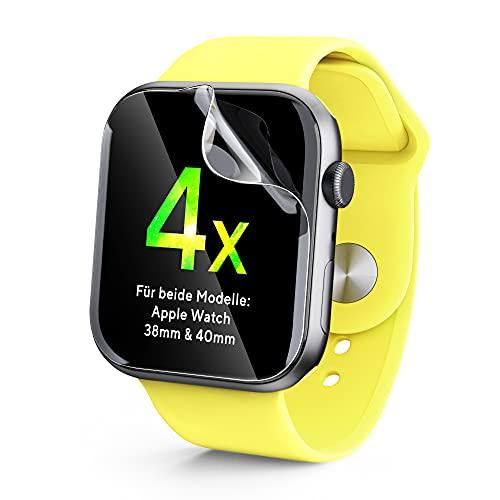 UTECTION 4x Displayschutz für Apple Watch 6 / SE/Series 5,4 40MM und Series 3,2,1 mit 38MM Display - Perfektes Touch-Erlebnis, Schützt vor Schmutz & Kratzern, Durchsichtige Schutzfolie, 4 Stück