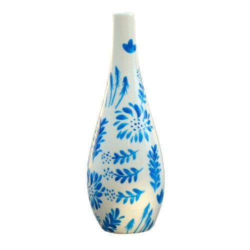 Carafe à huile, huilier ou vinaigrier 'Jardin Bleu' en porcelaine peinte à la main avec son bec verseur, en coffret-cadeau