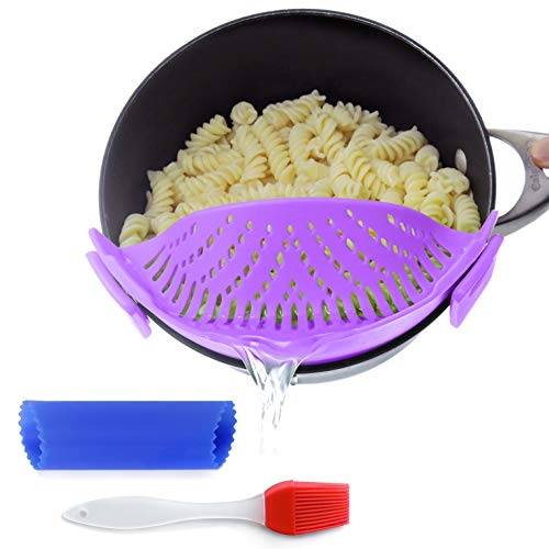 Clip-On Kitchen Food Strainer for Spaghetti, Pasta, Ground Beef Grease, Colander & Sieve Snaps on Bowls, Pots and Pans, Set includes Silicone Strainer, Brush & Garlic Peeler by Salbree (purple)