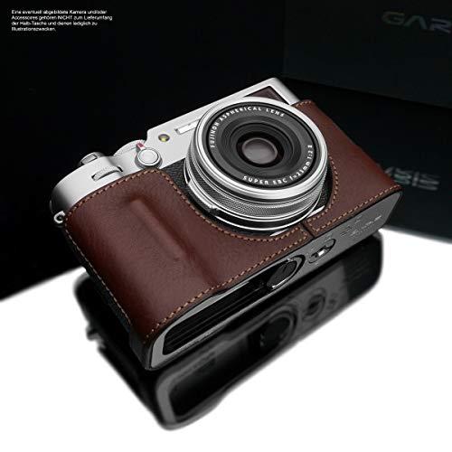 GARIZ Design Kameratasche für Fujifilm X100V Kamera | Fototasche aus italienischem Leder | Half Case für Fuji X100V | Systemkamera Tasche: Dunkelbraun | Ledertasche Naht: Braun HG-CHX100VBR
