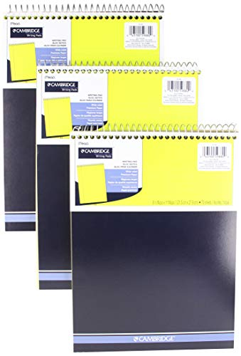 """Mead Legal Pad, Top Spiral Bound, Wide Ruled Paper, 70 Sheets Count, 8-1/2"""" x 11"""", (3 Pack)"""